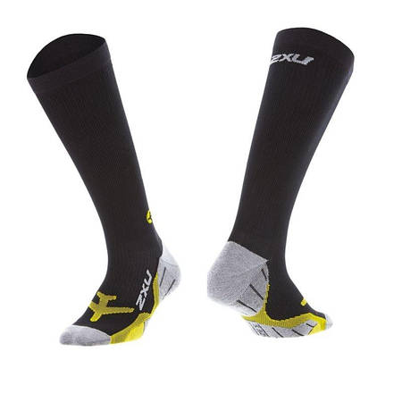 Женские компрессионные гольфы FLIGHT Compression Sock 2XU WA4430e (чёрный / жёлтый)