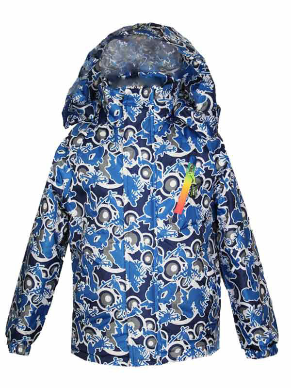 Удлиненная куртка-ветровка для мальчика 6-8 лет на хлопке синяя
