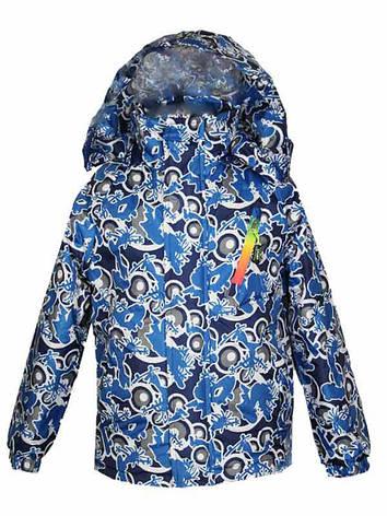 Удлиненная куртка-ветровка для мальчика 6-8 лет на хлопке синяя, фото 2