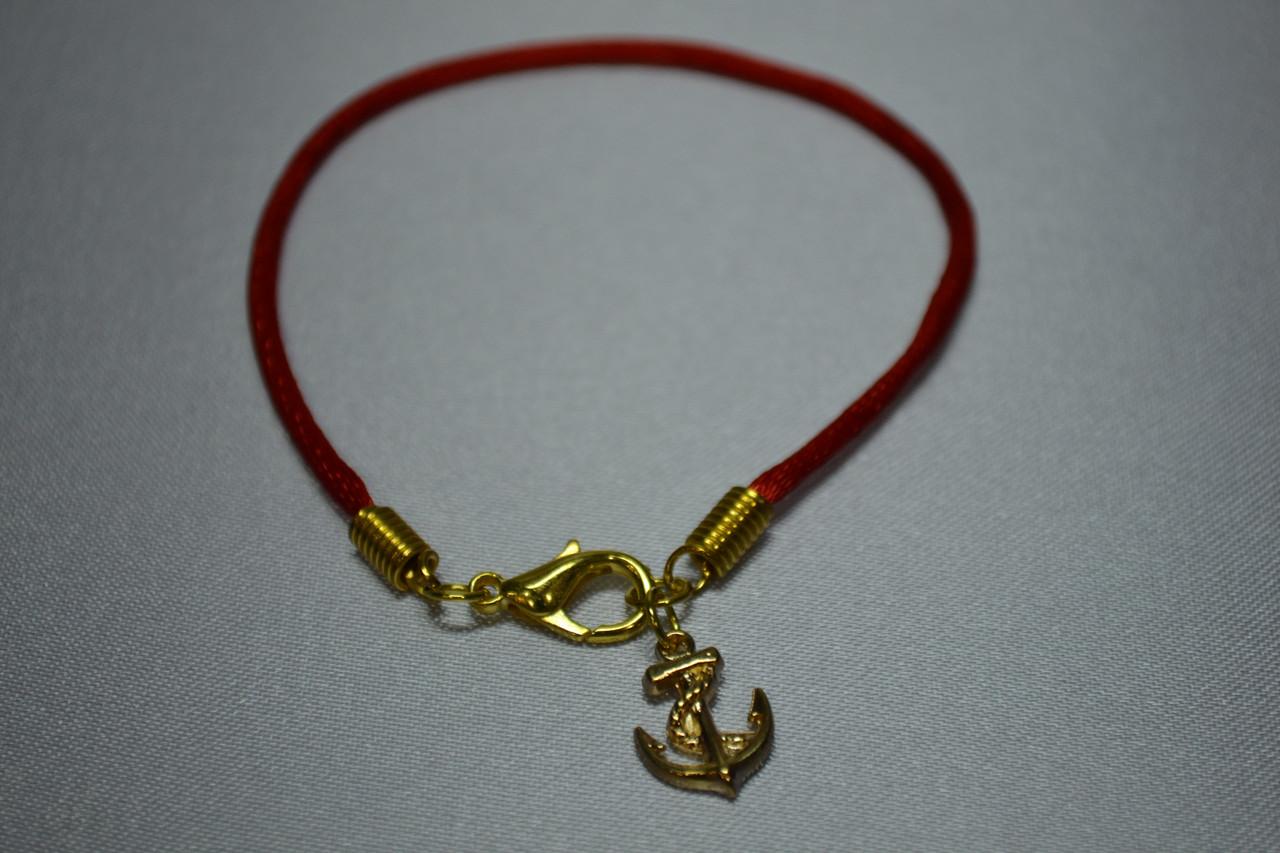 Красная нить Каббала с оберегом «Якорь»