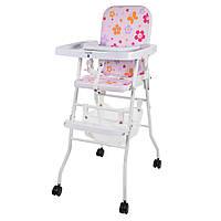 Яркий бюджетный стульчик для кормления 2в1 Bambi М 0398-1 на колесиках, фото 1