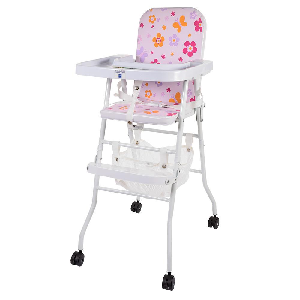 Яркий бюджетный стульчик для кормления 2в1 Bambi М 0398-1 на колесиках