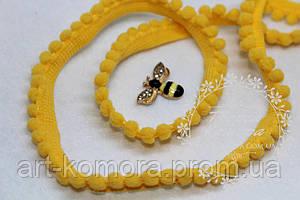 Тесьма с мелкими помпонами, желтая, в мотке 10м