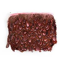 Перья декоративные фазана Розовые на ленте 5 см/50 см