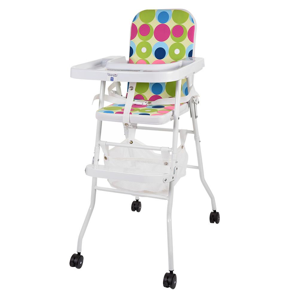 Яркий бюджетный стульчик для кормления 2в1 Bambi М 0398-2 на колесиках