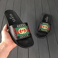 Мужские шлепанцы Gucci Black (РЕПЛИКА)