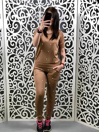 """Стильный женский костюм кофточка+брюки """"Трикотаж"""" с бусинками кофе 46, 48, 50, 52 размер батал, фото 2"""