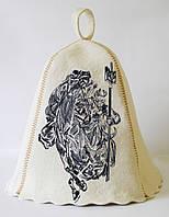 Шапка для бани и сауны с вышивкой 100% шерсть Патриот