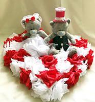 """Свадебные украшения на машину """"Мишки Тедди на сердце"""""""