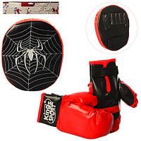 Детский боксерский набор M2922 перчатки 2шт, 23см лапа, 24см,в кульке