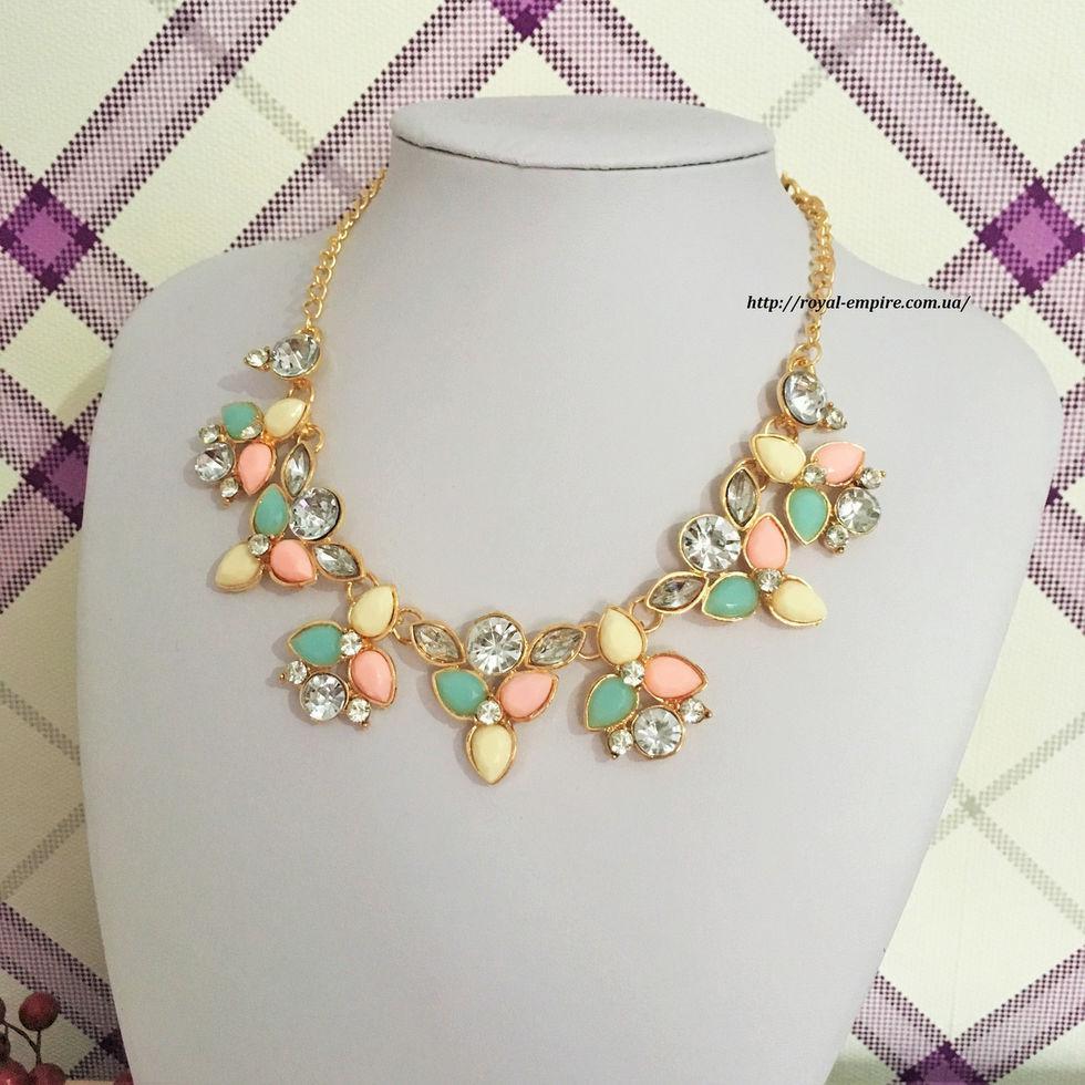 """Красиве і ніжне намисто """"Жаннет"""". бірюзово-рожевий"""