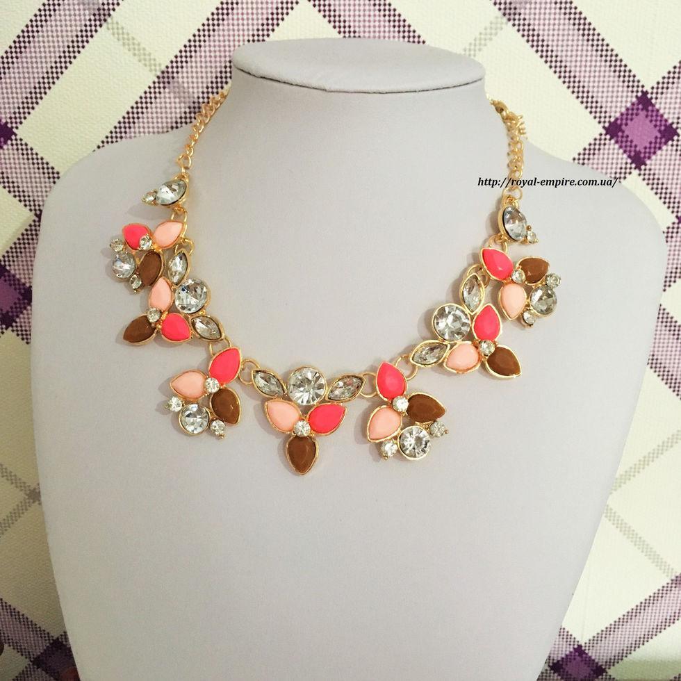 """Красивое и нежное ожерелье """"Жаннет"""". коричнево-малиновый"""