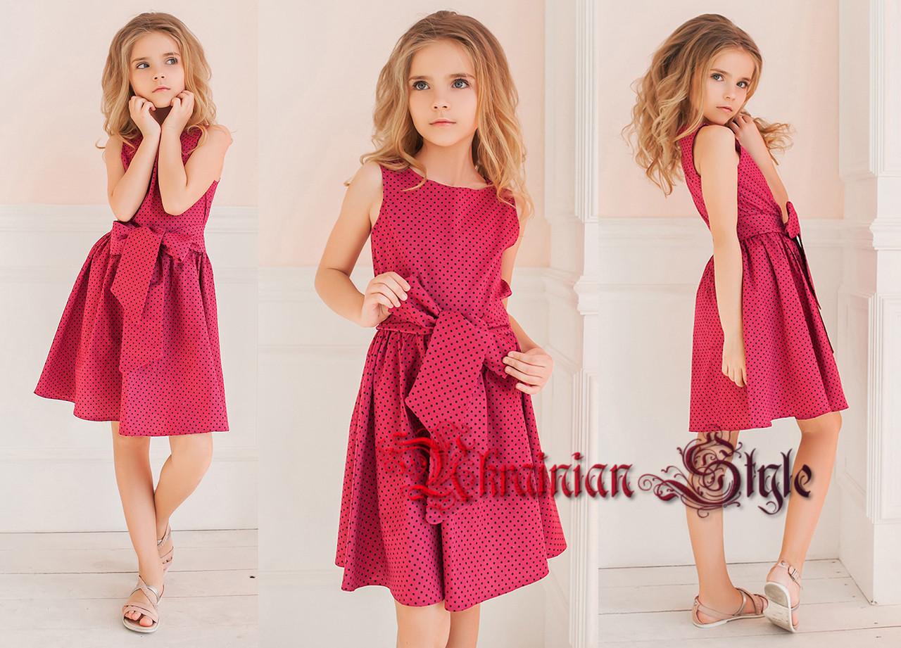 e0525202e68 Красивое нарядное платье для девочки в мелким горошек с поясом. 3 цвета! -  Интернет