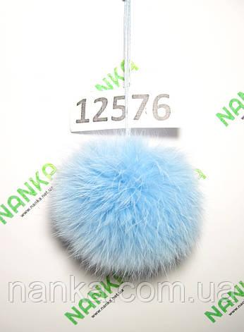 Меховой помпон Кролик, Св. Бирюза, 8 см, 12576, фото 2