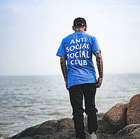 Футболка A.S.S.C. Синяя Anti Social social club приятная к телу | Качественная реплика