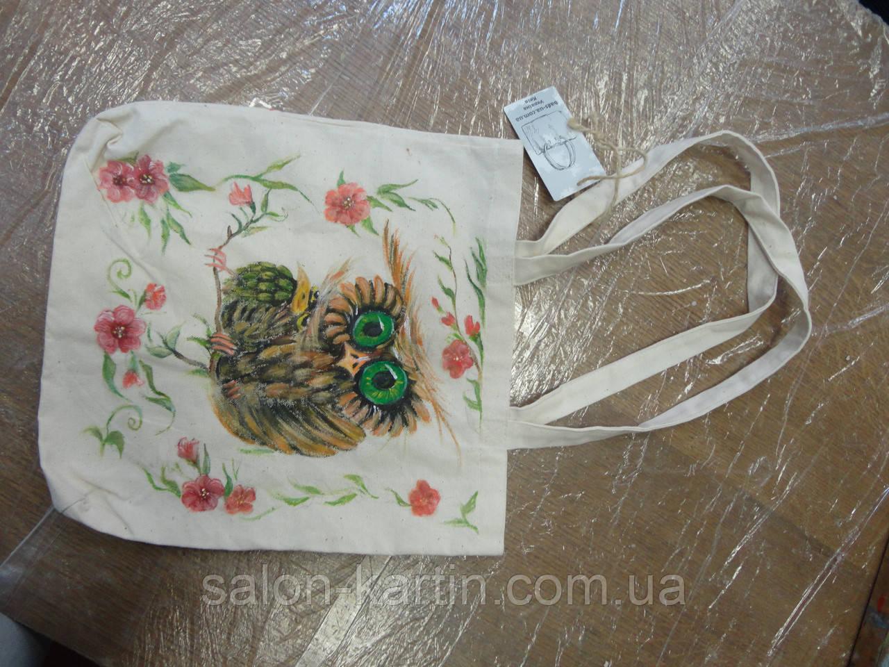 Сумка льняная с ручной росписью