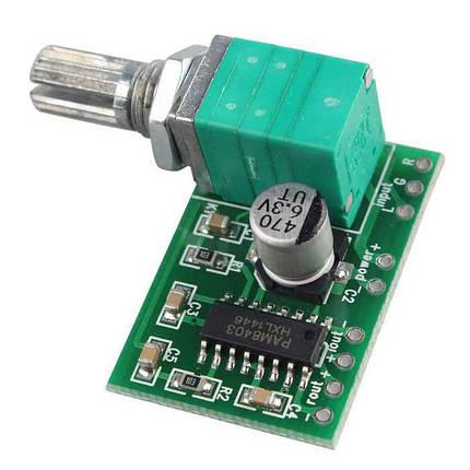Модуль стерео усилителя PAM8403 с регулятором громкости, фото 2