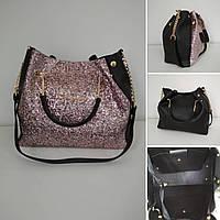Черная женская сумка с декоративной крошкой и длинной ручкой на цепочке