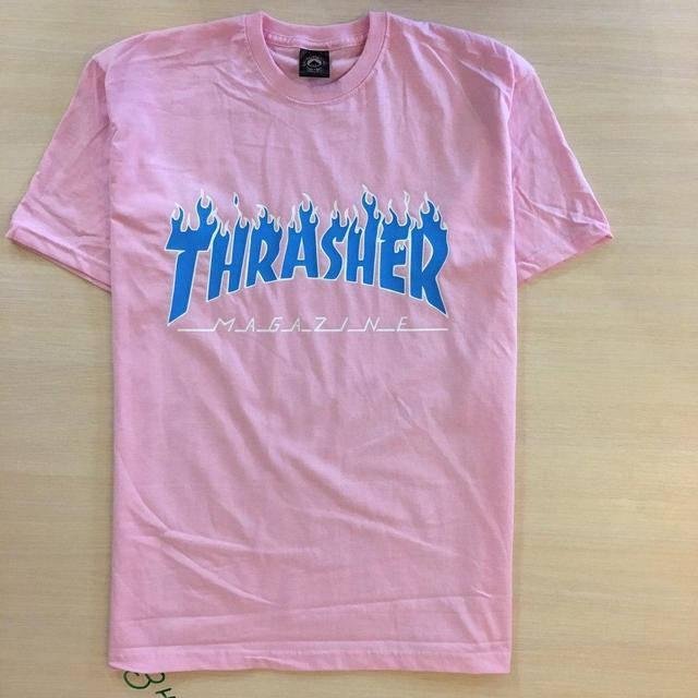 Футболка принтом Thrasher logo розовая | Качественная реплика