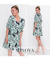 6d587c686d4 Принтованое платье с рюшами и короткими рукавами размеры S-ХL
