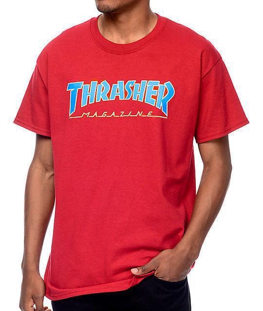 Футболка с логотипом Thrasher красная мужская |