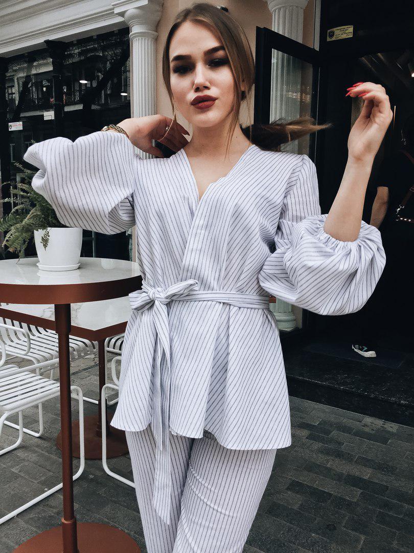 Брючный костюм блузка на запах  / 2 цвета арт 5422-5
