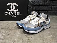Женские кроссовки Chanel, серо-белые с голубым   кроссовки женские Шанель 39ed2e13baa