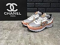 Женские кроссовки Chanel, серо-белые с бежевым   кроссовки женские Шанель 9a4dea16f76
