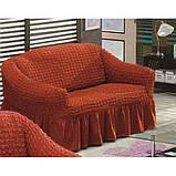 Чехол натяжной на диван MILANO цвет кирпичный (Турция), фото 2