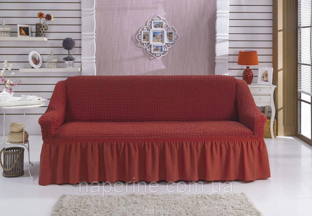 Чехол натяжной на диван MILANO цвет кирпичный (Турция)