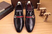 Gucci мужские туфли с зелено-красной лентой и пряжкой