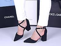 Туфли мюли черные открытый бок узкий нос код  20903, фото 1