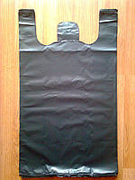 Пакеты-майка 44*75 см. суперпрочные без печати черные, плотный пакет без логотипа тип BMW, прочные кульки БМВ