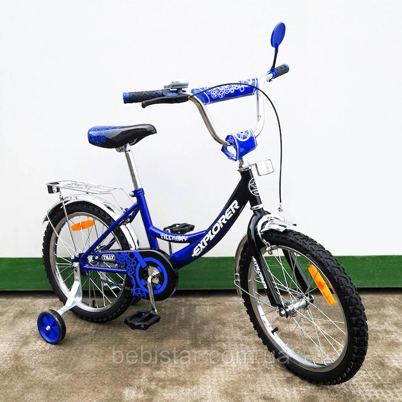 """Дитячий двоколісний велосипед TILLY 18"""" T-21815 для дітей 5-7 років, синьо-чорний"""