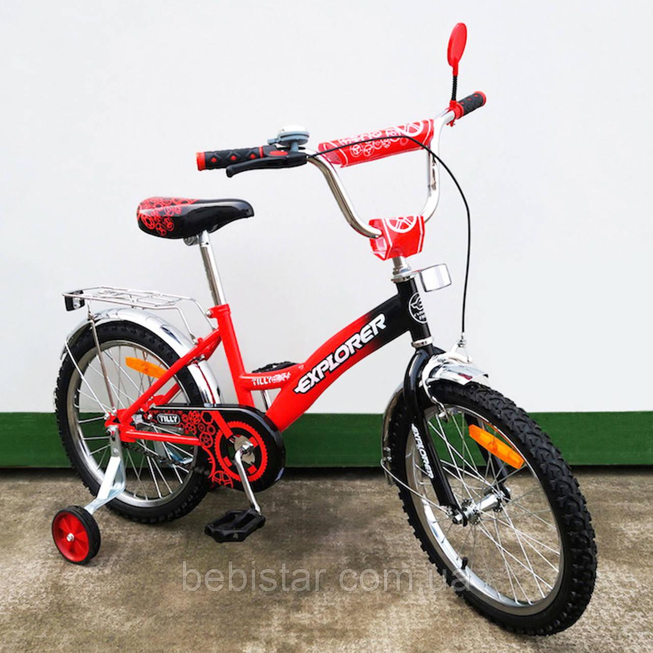 """Детский двухколесный велосипед TILLY 18"""" T-21817 для деток 5-7 лет, красно-черный"""