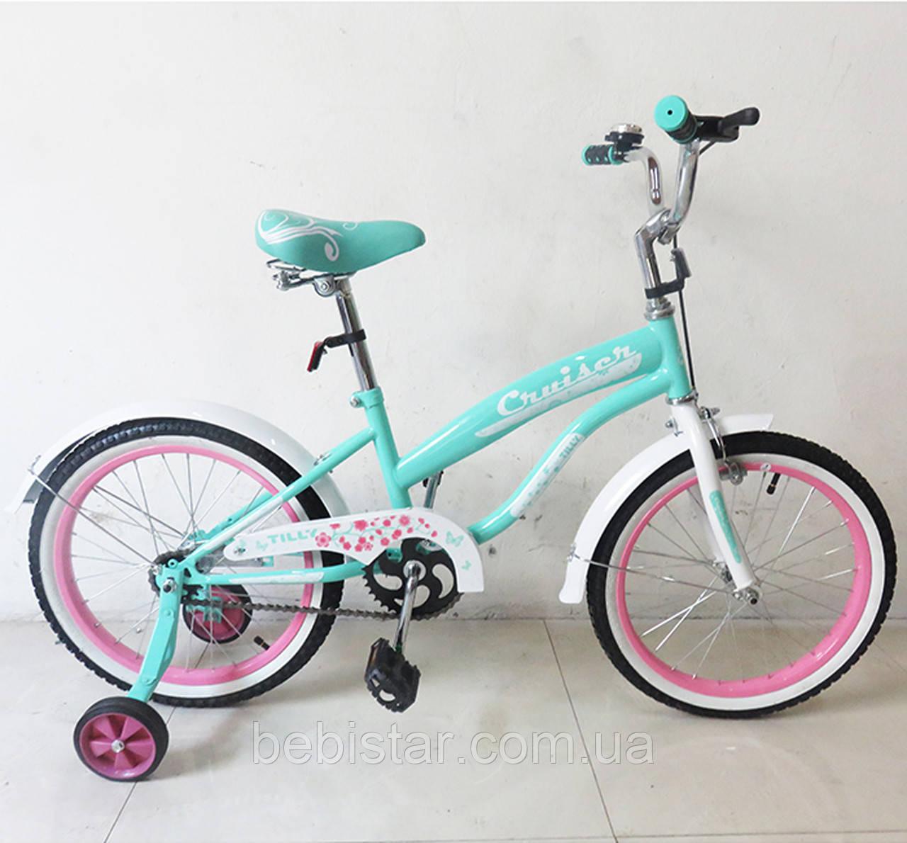 """Дитячий двоколісний велосипед TILLY 18"""" T-21832 для дітей 5-7 років, бірюзовий"""