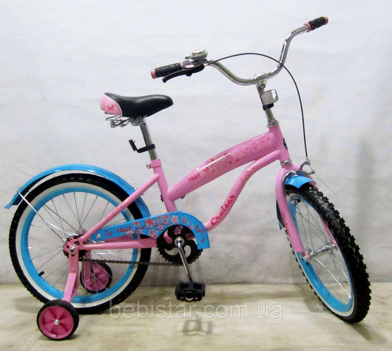 """Дитячий двоколісний велосипед TILLY 18"""" T-21831 для дітей 5-7 років, рожевий"""