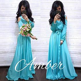 Платье в пол, ткань шёлк Армани,размер единый 42-46 бирюза