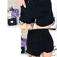Женские джинсовые короткие шорты с потёртостями, фото 1