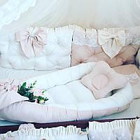 Бортики на 4 стороны+ гнездышко +постельное + балдахин, фото 1