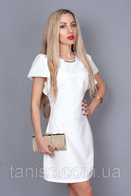 Платье молодежное из итальянской легкой ткани ,по спинке молния, красивый рукав, р.44,46 молочний
