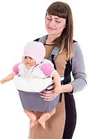 Рюкзак-кенгуру переноска для детей от 3-х месяцев Серый