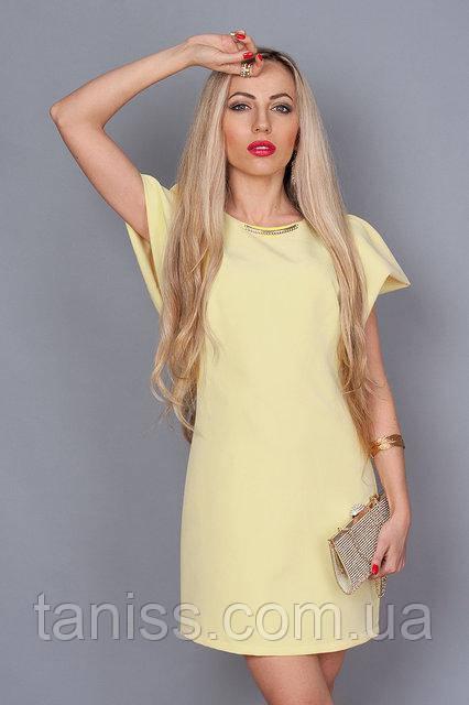 Платье молодежное из итальянск. легкой ткани ,по спинке молния, красивый рукав, р.44,46,48 ( песоч