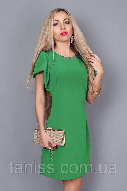 Платье летнее из итальянской легкой ткани ,по спинке молния, красивый рукав, р.44 зеленый