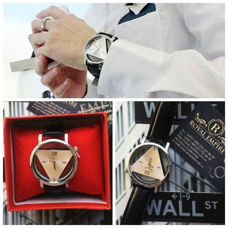 """Часы """"Dgjud"""" мужские черного цвета с треугольником внутри. серый"""