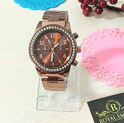 """Годинник """"Данна"""", гарні з кристалами. коричневий"""