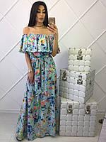 Длинное голубое женское платье в пол