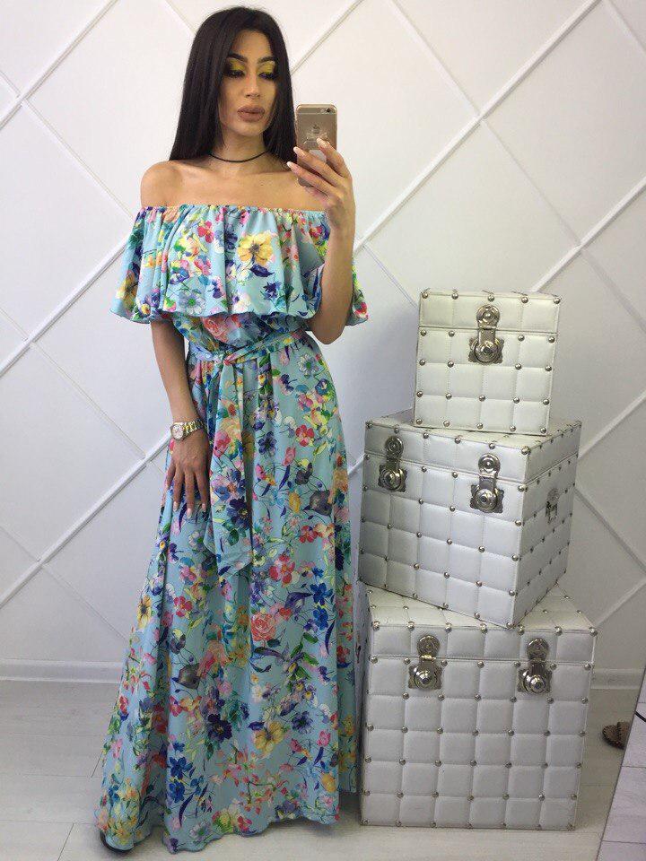 1c1930acc147a2f Длинное голубое женское платье в пол, цена 660 грн., купить в Харькове —  Prom.ua (ID#236333086)