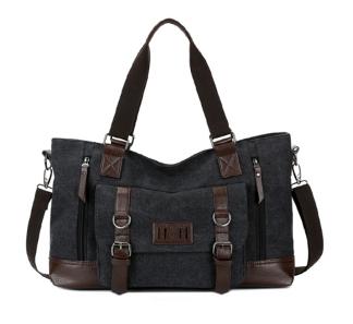 Большая мужская сумка мешковина черная
