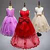 Нарядное платье для девочки с цветочками, шлейфом и большим бантом